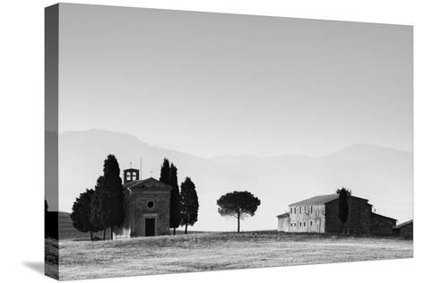 Europe, Italy, Tuscany. B&W of Vitaleta Chapel and Farmhouse-Jaynes Gallery-Stretched Canvas Print