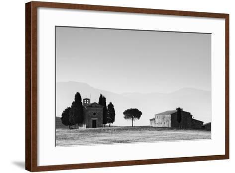 Europe, Italy, Tuscany. B&W of Vitaleta Chapel and Farmhouse-Jaynes Gallery-Framed Art Print