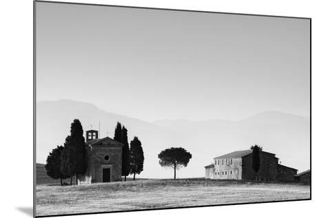 Europe, Italy, Tuscany. B&W of Vitaleta Chapel and Farmhouse-Jaynes Gallery-Mounted Photographic Print