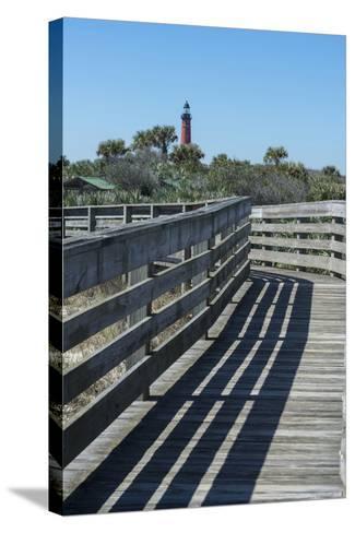 Florida, New Smyrna Beach, Smyrna Dunes Park, Boardwalk, Ponce Inlet Lighthouse-Jim Engelbrecht-Stretched Canvas Print