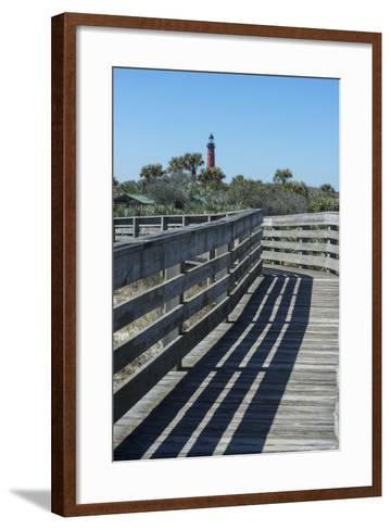 Florida, New Smyrna Beach, Smyrna Dunes Park, Boardwalk, Ponce Inlet Lighthouse-Jim Engelbrecht-Framed Art Print