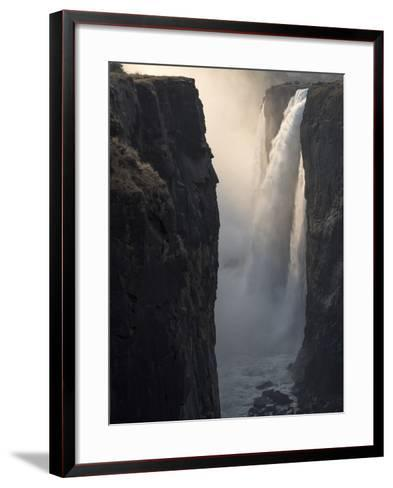 Africa, Zimbabwe, Victoria Falls. Close-Up of Waterfall and Spray at Sunrise-Jaynes Gallery-Framed Art Print