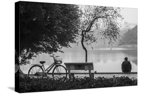 Vietnam, Hanoi. Hoan Kiem Lake with People-Walter Bibikow-Stretched Canvas Print