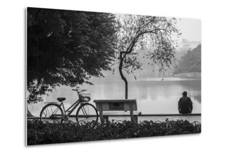 Vietnam, Hanoi. Hoan Kiem Lake with People-Walter Bibikow-Metal Print