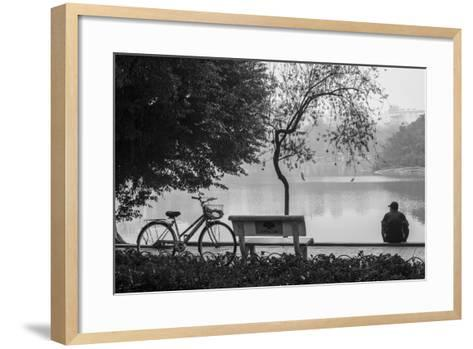 Vietnam, Hanoi. Hoan Kiem Lake with People-Walter Bibikow-Framed Art Print