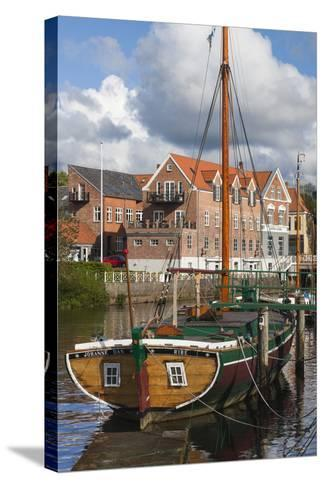 Denmark, Jutland, Ribe, Town View with the Johanne Dan, Flat-Bottomed Sailing Ship-Walter Bibikow-Stretched Canvas Print