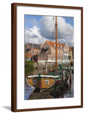 Denmark, Jutland, Ribe, Town View with the Johanne Dan, Flat-Bottomed Sailing Ship-Walter Bibikow-Framed Art Print