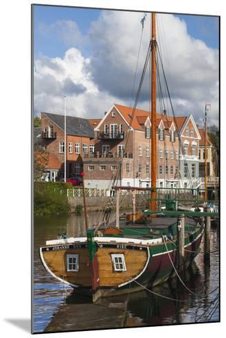 Denmark, Jutland, Ribe, Town View with the Johanne Dan, Flat-Bottomed Sailing Ship-Walter Bibikow-Mounted Photographic Print