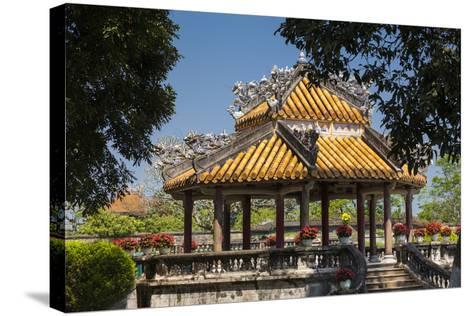 Vietnam, Hue Imperial City. Ruins of the Purple Forbidden City, Garden Gazebo-Walter Bibikow-Stretched Canvas Print
