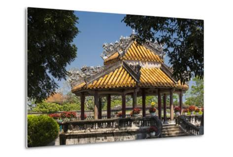 Vietnam, Hue Imperial City. Ruins of the Purple Forbidden City, Garden Gazebo-Walter Bibikow-Metal Print