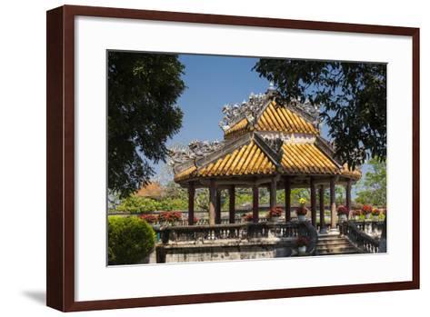 Vietnam, Hue Imperial City. Ruins of the Purple Forbidden City, Garden Gazebo-Walter Bibikow-Framed Art Print