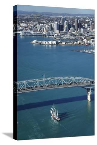Spirit of New Zealand Tall Ship, Auckland Harbour Bridge, Auckland, North Island, New Zealand-David Wall-Stretched Canvas Print