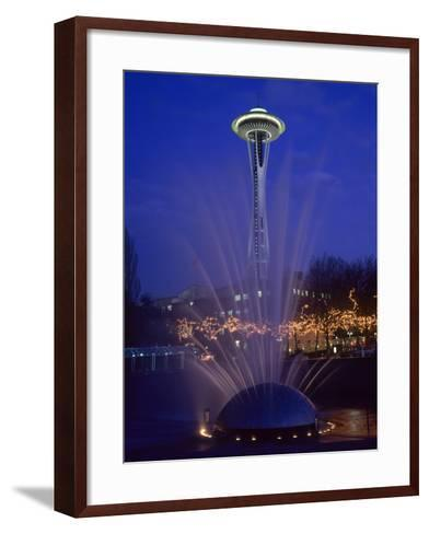 Wa, Seattle, International Fountain with Holiday Lights and the Space Needle-Jamie And Judy Wild-Framed Art Print