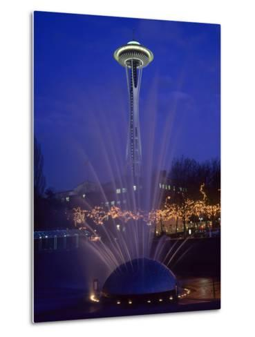 Wa, Seattle, International Fountain with Holiday Lights and the Space Needle-Jamie And Judy Wild-Metal Print