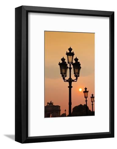 Lamp Posts at Sunset, Paris, France-Russ Bishop-Framed Art Print