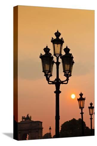 Lamp Posts at Sunset, Paris, France-Russ Bishop-Stretched Canvas Print