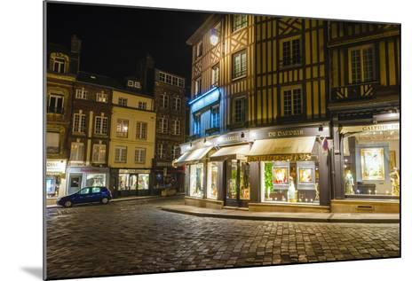Honfleur Street Corner at Night, Normandy, France-Russ Bishop-Mounted Photographic Print