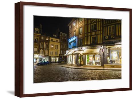 Honfleur Street Corner at Night, Normandy, France-Russ Bishop-Framed Art Print