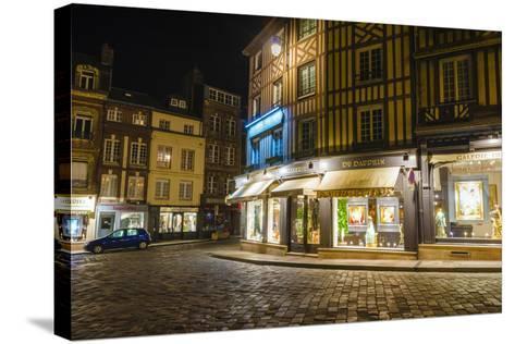 Honfleur Street Corner at Night, Normandy, France-Russ Bishop-Stretched Canvas Print