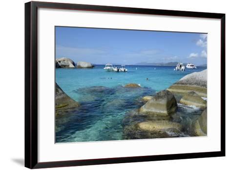 British Virgin Islands, Virgin Gorda. Boats and Tourists at the Baths-Kevin Oke-Framed Art Print