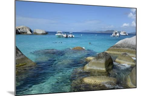 British Virgin Islands, Virgin Gorda. Boats and Tourists at the Baths-Kevin Oke-Mounted Photographic Print