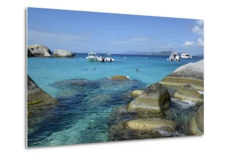 British Virgin Islands, Virgin Gorda. Boats and Tourists at the Baths-Kevin Oke-Metal Print