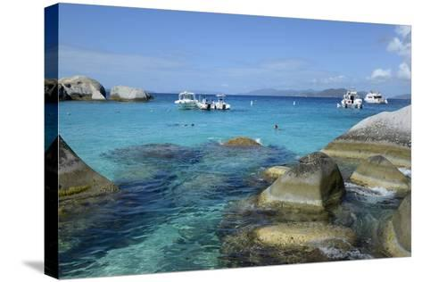 British Virgin Islands, Virgin Gorda. Boats and Tourists at the Baths-Kevin Oke-Stretched Canvas Print