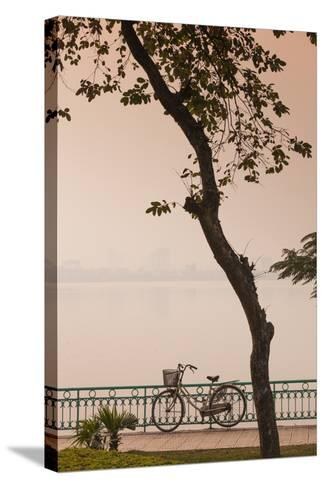 Vietnam, Hanoi. Tay Ho, West Lake, Bicycle-Walter Bibikow-Stretched Canvas Print