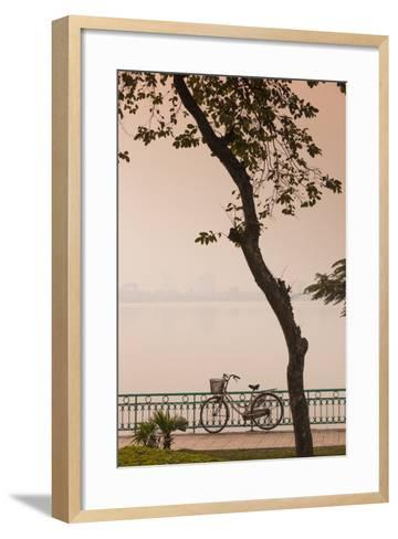 Vietnam, Hanoi. Tay Ho, West Lake, Bicycle-Walter Bibikow-Framed Art Print