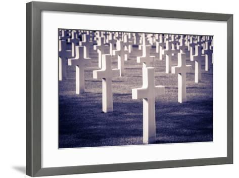 Graves at the American Cemetery, Omaha Beach, Colleville-Sur-Mer, Normandy, France-Russ Bishop-Framed Art Print