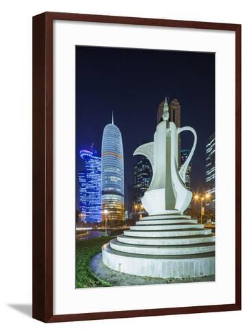 Qatar, Doha, Doha Bay, West Bay Skyscrapers, Dusk, with Large Coffeepot Sculpture-Walter Bibikow-Framed Art Print