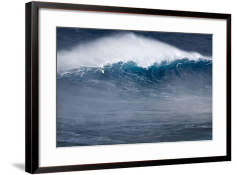 Hawaii, Maui. Kai Lenny Stand Up Paddle Board Surfing Monster Waves at Pe'Ahi Jaws-Janis Miglavs-Framed Art Print