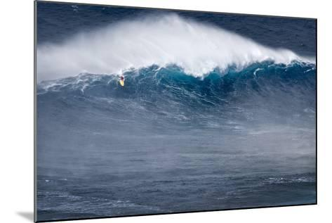 Hawaii, Maui. Kai Lenny Stand Up Paddle Board Surfing Monster Waves at Pe'Ahi Jaws-Janis Miglavs-Mounted Photographic Print