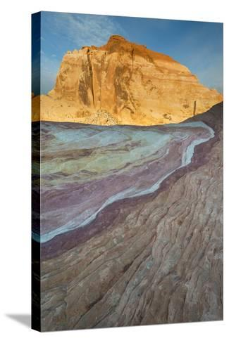 Nevada, Valley of Fire State Park. Erosion Shaped Abstract Design from Layered Sandstone-Judith Zimmerman-Stretched Canvas Print