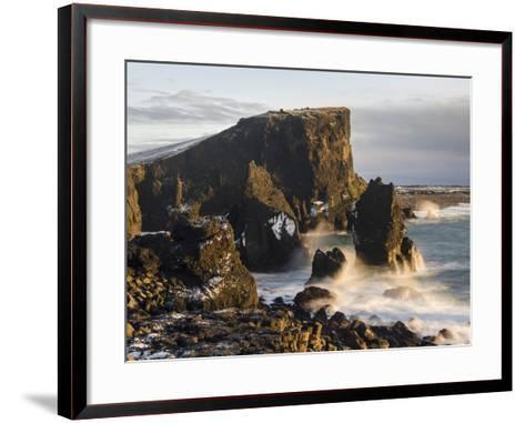 North Atlantic Coast During Winter Near Reykjanesviti and Valahnukur. Iceland-Martin Zwick-Framed Art Print