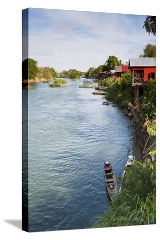 The Island of Don Det Is an Upcoming Backpacker Stop on Mekong River Along Cambodia and Laos Border-Micah Wright-Stretched Canvas Print