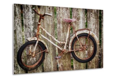Orcas Island, Old Bicycle Hanging on Fence-Mark Williford-Metal Print