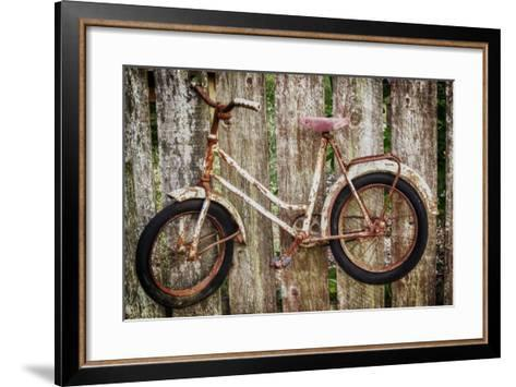 Orcas Island, Old Bicycle Hanging on Fence-Mark Williford-Framed Art Print