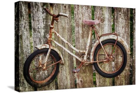 Orcas Island, Old Bicycle Hanging on Fence-Mark Williford-Stretched Canvas Print