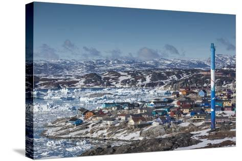 Greenland, Disko Bay, Ilulissat, Elevated Town View with Floating Ice-Walter Bibikow-Stretched Canvas Print