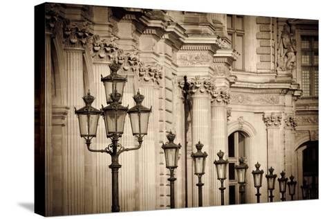 Lamp Posts and Columns at the Louvre Palace, Paris, France-Russ Bishop-Stretched Canvas Print