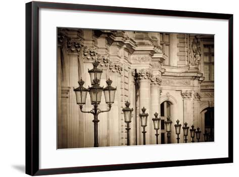 Lamp Posts and Columns at the Louvre Palace, Paris, France-Russ Bishop-Framed Art Print