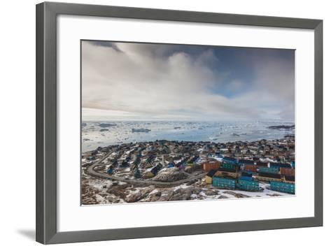 Greenland, Disko Bay, Ilulissat, Elevated Town View with Floating Ice-Walter Bibikow-Framed Art Print