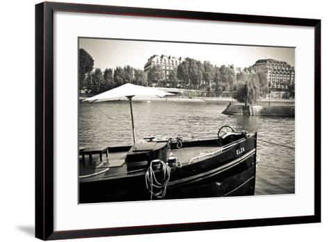 Boat Docked Along the Seine River, Paris, France-Russ Bishop-Framed Art Print
