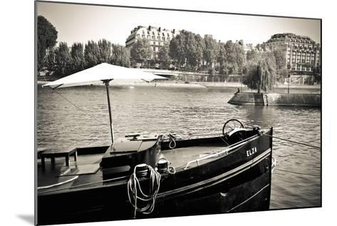 Boat Docked Along the Seine River, Paris, France-Russ Bishop-Mounted Photographic Print