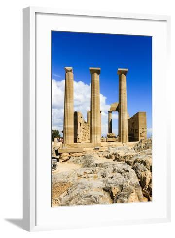 Doric Temple of Athena. Dorian Acropolis of Lindos from About 10th Century BC. Rhodes. Greece-Tom Norring-Framed Art Print