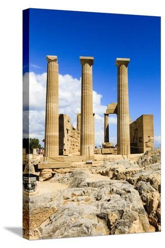 Doric Temple of Athena. Dorian Acropolis of Lindos from About 10th Century BC. Rhodes. Greece-Tom Norring-Stretched Canvas Print