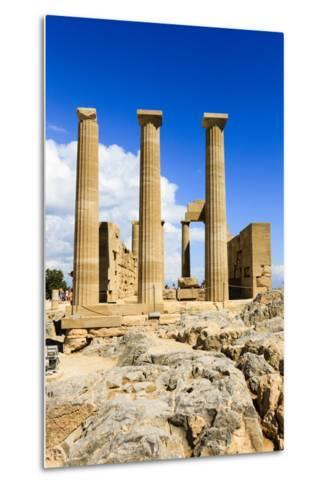 Doric Temple of Athena. Dorian Acropolis of Lindos from About 10th Century BC. Rhodes. Greece-Tom Norring-Metal Print