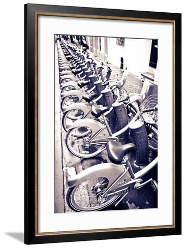 Velib Bicycles for Rent, Paris, France-Russ Bishop-Framed Art Print