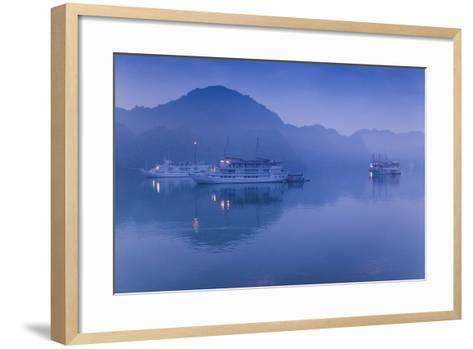 Vietnam, Halong Bay, Tourist Boats, Dawn-Walter Bibikow-Framed Art Print